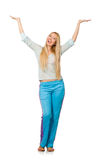 The young woman wearing blue training pants isolated on white Royalty Free Stock Photos