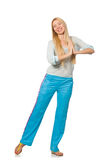 The young woman wearing blue training pants isolated on white. Young woman wearing blue training pants isolated on white Royalty Free Stock Photography
