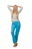 The young woman wearing blue training pants isolated on white Royalty Free Stock Photography