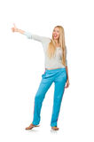 The young woman wearing blue training pants isolated on white Stock Images