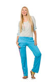 The young woman wearing blue training pants isolated on white. Young woman wearing blue training pants isolated on white Stock Images