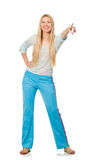 The young woman wearing blue training pants isolated on white. Young woman wearing blue training pants isolated on white Stock Photography