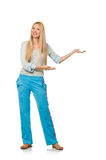 Young woman wearing blue training pants isolated on white Stock Photography