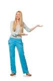 Young woman wearing blue training pants isolated on white. The young woman wearing blue training pants isolated on white Stock Photography