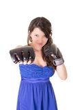 Young woman wearing boxing gloves in casual dress Stock Photo