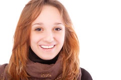 Young woman wearing brown clothes Royalty Free Stock Photos