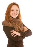 Young woman wearing brown clothes Royalty Free Stock Images