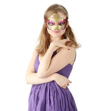 Young woman wearing carnival mask Stock Image