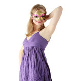 Young woman wearing carnival mask Stock Photo