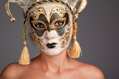 Young Woman Wearing Carnival Mask Royalty Free Stock Photography