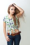 Young woman wearing country style clothes Stock Image
