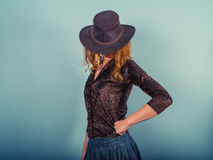 Young woman wearing a cowboy hat Royalty Free Stock Photos