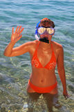 Young woman wearing diving goggles. Young woman in orange bikini with diving goggles Royalty Free Stock Images
