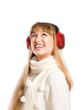 Young woman wearing ear flaps Stock Images