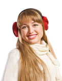 Young woman wearing ear flaps Stock Photos