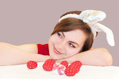 Young woman wearing easter bunny ears. royalty free stock photography