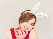Young woman wearing easter bunny ears. Stock Photography