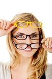 Young woman wearing eyeglasses Royalty Free Stock Photos