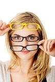 Young woman wearing eyeglasses Royalty Free Stock Photography
