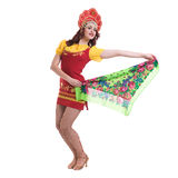 Young woman wearing a folk costumes dancing Stock Images