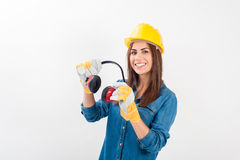Free Young Woman Wearing Full Protective Gear Royalty Free Stock Image - 45022186