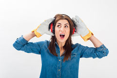 Young woman wearing full protective gear Royalty Free Stock Photography