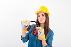 Young woman wearing full protective gear Stock Photos