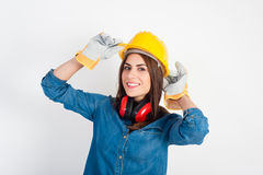 Young woman wearing full protective gear Stock Photo