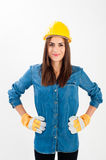 Young woman wearing full protective gear Stock Photography