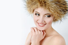 Young woman wearing fur har Royalty Free Stock Photography