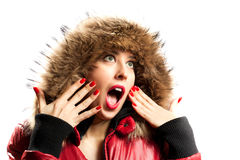 Young woman wearing furry hood Royalty Free Stock Photos