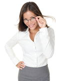 Young woman wearing glasses stock images