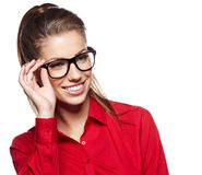 Young woman wearing glasses Royalty Free Stock Photos