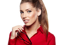 Young woman wearing glasses Royalty Free Stock Photography