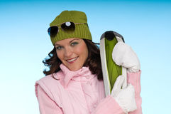 Young woman wearing green and pink clothes Royalty Free Stock Photos