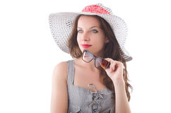 Young woman wearing hat and gray striped dress Stock Image
