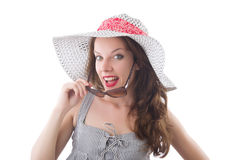 Young woman wearing hat and gray striped dress Royalty Free Stock Image