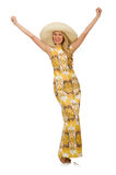 Young woman wearing hat and long summer dress Stock Photography