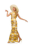 Young woman wearing hat and long summer dress Stock Image