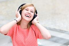 Young woman wearing headphones Royalty Free Stock Photo