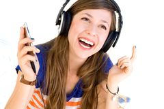 Young woman wearing headphones Royalty Free Stock Image