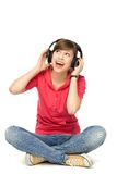 Young woman wearing headphones Stock Photo