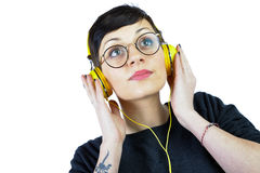 Young Woman wearing headphones Royalty Free Stock Images