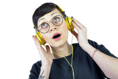 Young Woman wearing headphones listening to music Stock Image