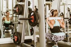 Woman lifting weights behind head royalty free stock photo