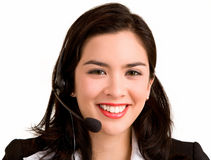 Young Woman Wearing Headset Stock Photo