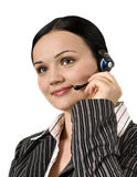 Young woman wearing a headset Stock Image