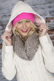 Young Woman Wearing a Hooded Coat Royalty Free Stock Image