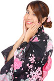 Young woman wearing Japanese kimono Stock Images
