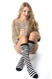 Young Woman Wearing a Jumper and Knee Socks Stock Photos